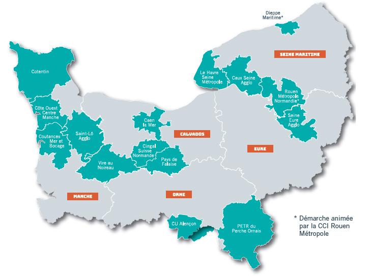 Cartes des 8 collectivités normandes qui participent à l'opération collective « Tremplin vers l'EIT ». Voir descriptif ci-dessous.